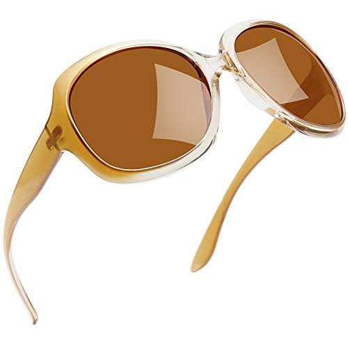 Joopin Sonnenbrille Damen Polarisiert UV400 Schutz Übergroß Klassisch Vintage Brille mit Großer Rahmen(Champainbraun)