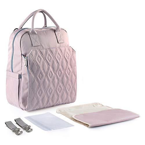 ACC Wickeltasche Mummy Bag Rucksack, Baby Wickeltasche wasserdicht Dressing Pad, Kinderwagen Haken Mom Rucksack, Multifunktions-, wasserdicht, große Kapazität,Purple