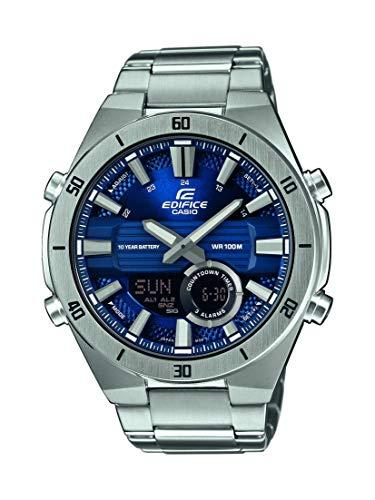 Casio EDIFICE Reloj en caja sólida, 10 BAR, Azul, para Hombre, con Correa de Acero inoxidable, ERA-110D-2AVEF