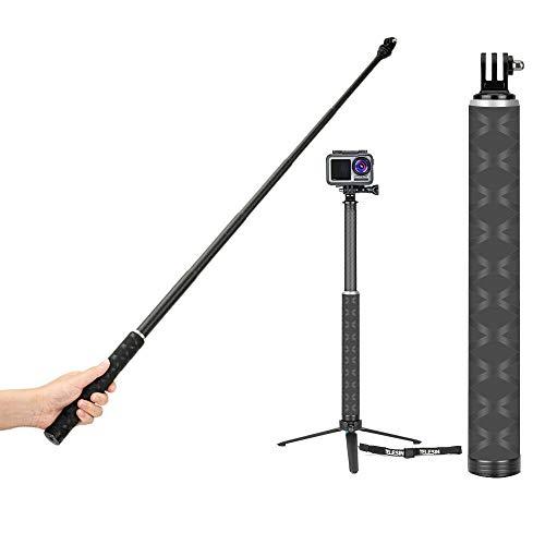 TELESIN 0.9M 4 en 1 Fibra de Carbono Selfie Stick y trípode de aleación de Aluminio para GoPro Hero 5 6 7 8 para dji Osmo Action Camera Accessories