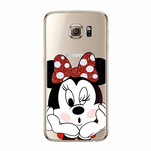 S6 Cover in TPU Gel Trasparente Custodia Protettiva, Glitter Special Collection, Disney Minnie Mouse, Compatibile Samsung Galaxy S6