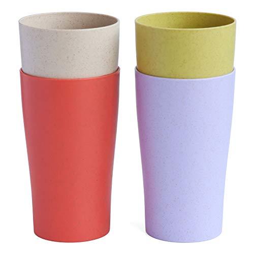 NAWOVAO 4 vasos irrompibles reutilizables para niños y adultos (13.5 onzas), juego de 4 vasos de paja de trigo, aptos para...