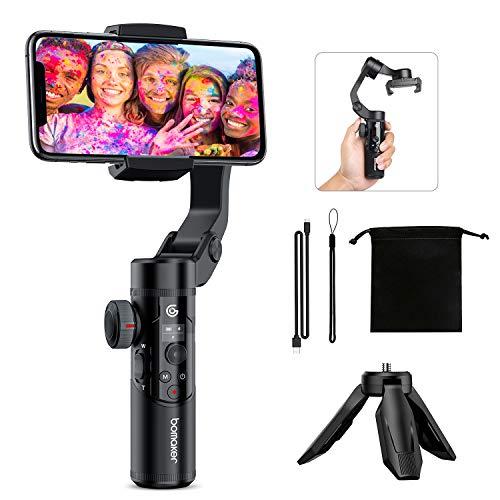 Gimbal - Estabilizador de 3 Ejes para Smartphone, diseño portátil y Plegable con Mango para trípode, activación 3D, detección Facial AI y batería extraíble para Vlogger y Youtuber