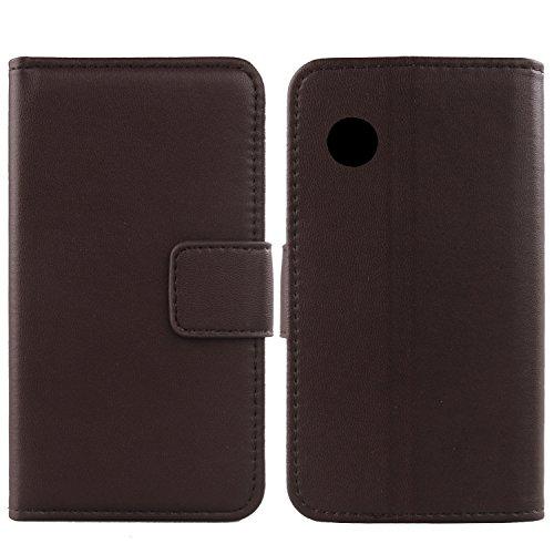 Gukas Design Echt Leder Tasche Für Wiko Ozzy Hülle Handy Flip Brieftasche mit Kartenfächer Schutz Protektiv Genuine Premium Hülle Cover Etui Skin Shell (Dark Braun)