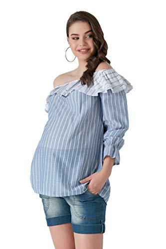 M.M.C. Volant bluzka ciążowa, bez ramion, z odkrytymi ramionami, moda ciążowa, bluzka ciążowa, bluzka na czas wolny dla kobiet w ciąży – bluzka imprezowa