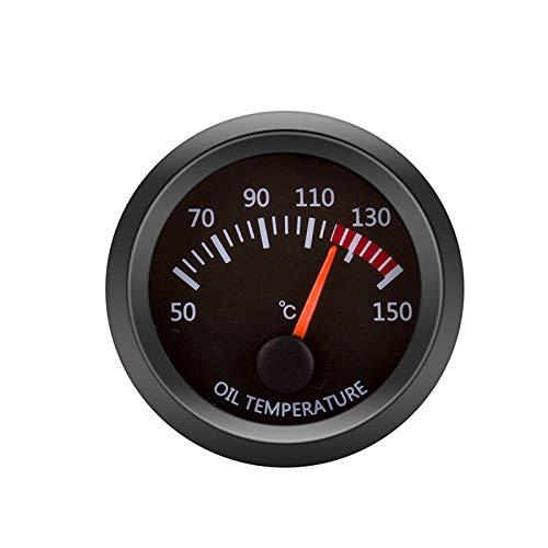 JHONG Kit de Calibre de Temperatura del Aceite del Motor 12V para el medidor de vehículos del automóvil Shell Negro 2 Pulgadas 52mm
