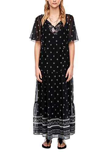 s.Oliver Damen lang Sommerkleid Kleid, 99F0 Black panneau prin, XL