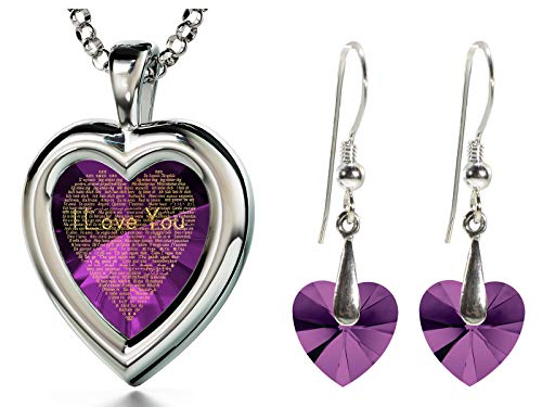 """925 Sterling Silver Purple Heart Jewelry Set for Her 120 Languages I Love You Necklace Inscribed in 24k Gold with Romantic Crystal Heart Earrings Anniversary Jewelry, 18"""" Chain"""