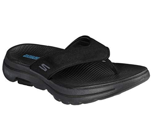 Skechers Men's Gowalk 5-Performance Walking Flip-Flop Sandal, Black/Grey, 43.5