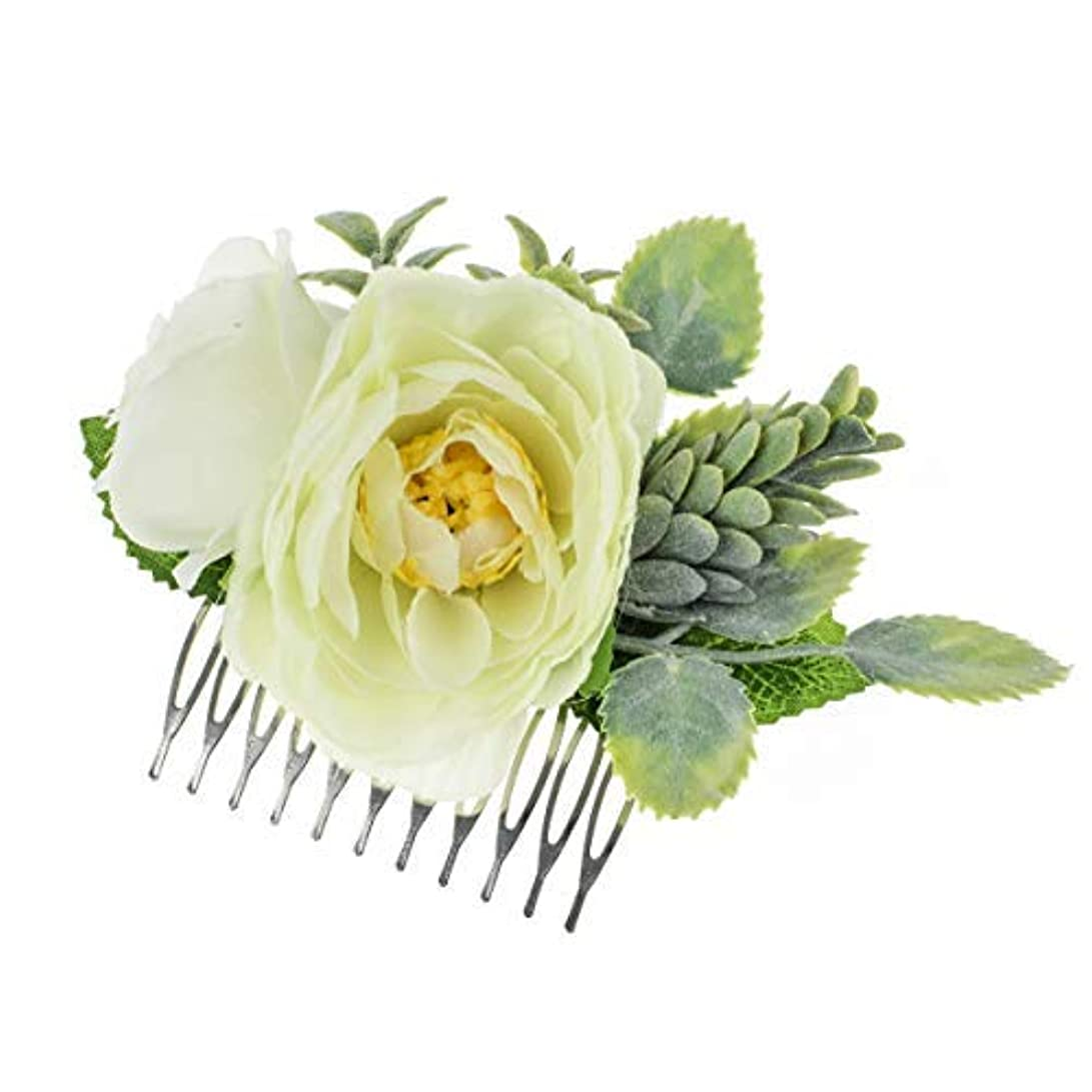 情報裏切り者小説Vividsun Bridal Flower Comb Greenery Hair Comb Wedding Floral Headpiece [並行輸入品]