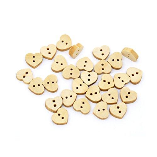 Ultnice 200 bottoni a forma di cuore con 2 fori, in legno, ideali per Scrapbooking, cucito, lavori di artigianato, bricolage