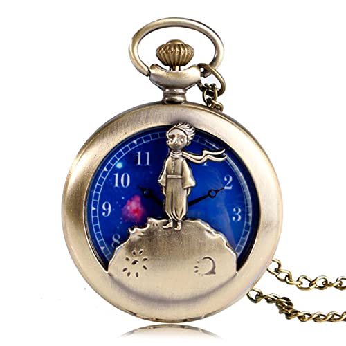 Reloj de Bolsillo Clásico Principito Película Planeta Bronce Azul Retro Reloj de Bolsillo de Cuarzo Reloj Collar Regalo