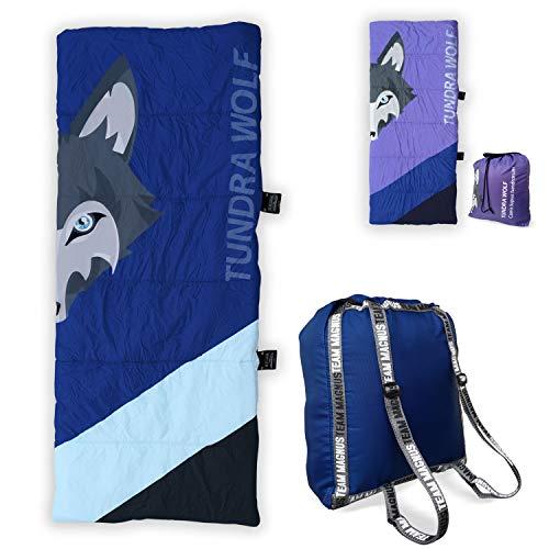 TEAM MAGNUS Tundra Wolf Deckenschlafsack Junior für 3 Jahreszeiten mit Kompressionsrücksack für Kinder (Navy)