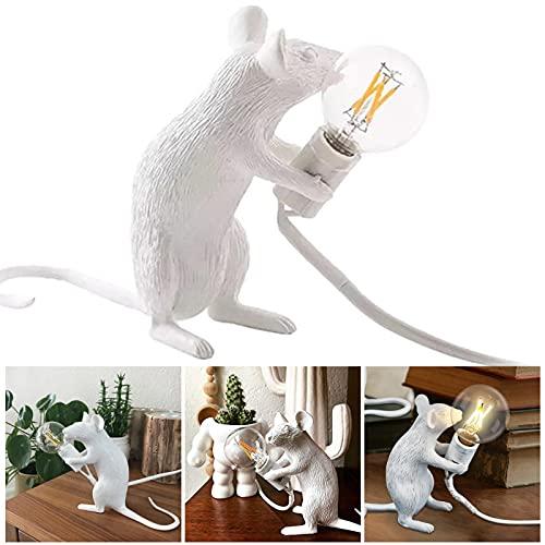 Lámpara de escritorio con ratón, lámpara de noche, lámpara de lectura, resina administrada, lámpara de noche, decoración del hogar, oficina, habitaciones, decoración estética (color blanco)