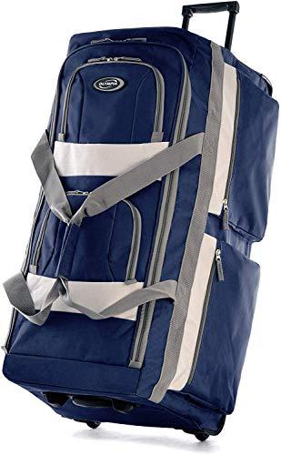 Olympia 8 Pocket Rolling Duffel Bag, Navy, 22 inch