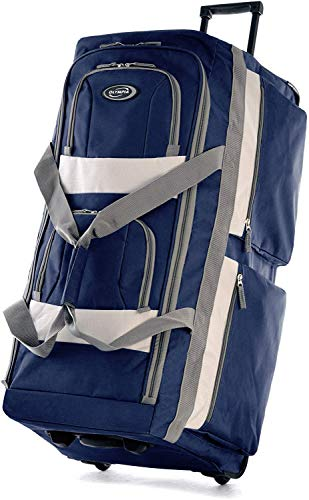 Olympia 8 Pocket Rolling Duffel Bag, Navy, 22 inch