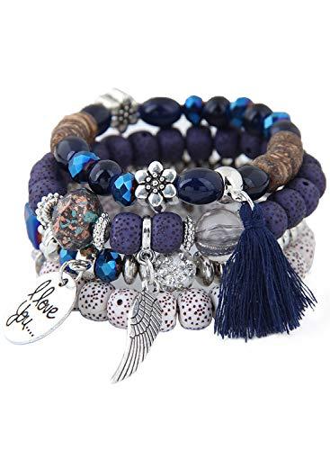 Armband mit Kristallen, exquisites Opalflügel, Liebesperlen, Multi-Kreise, Quasten-Armband, Retro-Stil, Ethno-Stil Gr. Einheitsgröße, blau