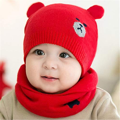 VVVVANKER Enfants automne hiver laine tricot bonnet bonnet bébé filles ours mignon oreille Rouge