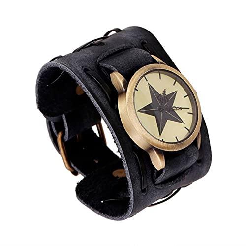 HANGYI Hombres Retro Punk Reloj de Pulsera Dial Correa de Cuero Genuino Brazalete Relojes de Cuarzo Pulsera Brazalete Relojes de Pulsera de Cuarzo Reloj de Pulsera de Moda Gótica