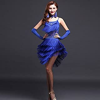f36786d8c Latin Dance Dresses Women's Performance Polyester Rhinestones/Tassel Dress  with Earrings/Gloves/Neckwear