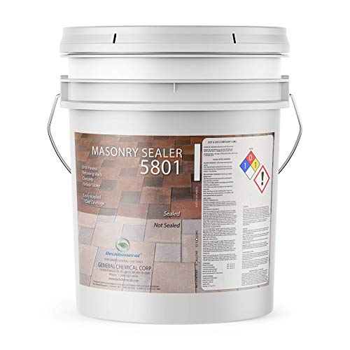 PaverGeneral Concrete Sealer - Clear Waterproof Sealant for Stone, Brick, and Mortar - Masonry Sealer 5801 - Protection for Driveways, Sidewalks, Garage Floors, Basements, and More - 5 Gallon Bucket