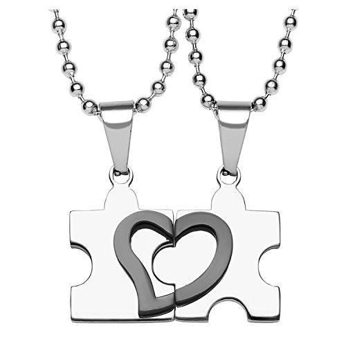 Jovivi Anhänger,2 Freundschaftsketten Herz Puzzle Love Edelstahl Partner-Anhänger mit 55cm Kette, Halskette für Damen & Herren,Silber Schwarz