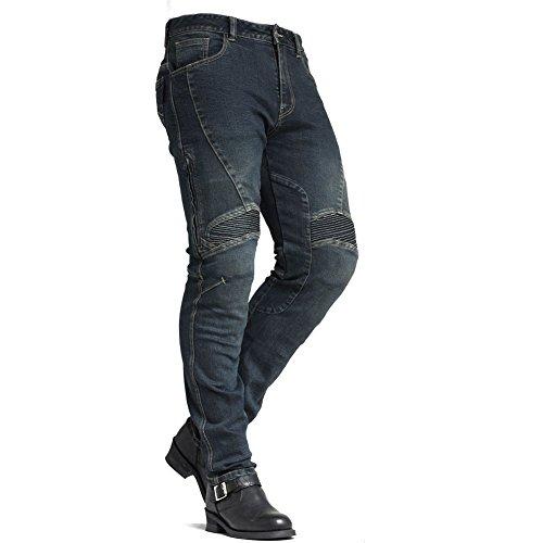 Maxler Motorradjeans Herren Kevlar Motorradhose Biker Motorcycle sportlich Jeans Denim Blue (30)