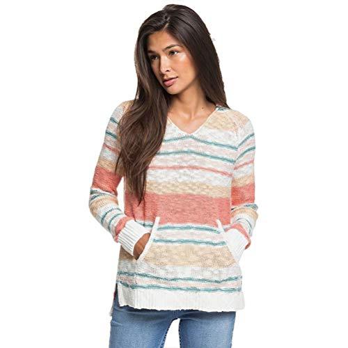 Roxy Junior's Airport Vibes Hooded Sweater, Snow White Heather True Stripe, XL