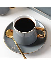 JIUJ Filiżanki z talerzykiem podstawowym do herbaty, kawy, cappuccino dla 1 osoby, europejski ceramiczny, złoty zestaw kubków Continental Cup Grey 190 ml