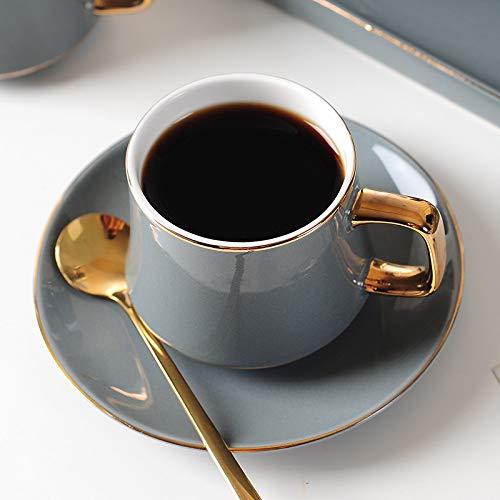 JIUJ Tassen Tassen mit Unterteller Basic für Tee Kaffee Cappuccino für 1 Personen Europäisches Keramik Gold Continental Cup Set Grey 250ml