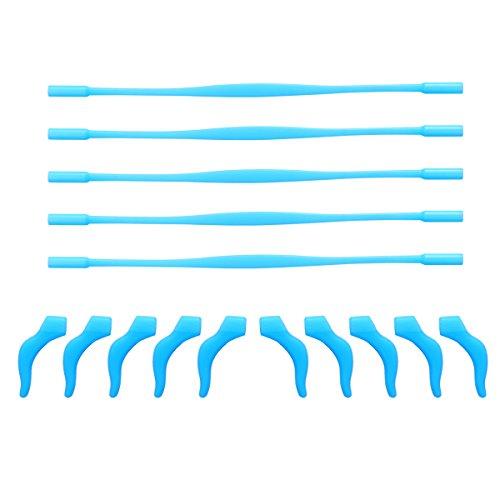 ULTNICE 5 Sätze von Anti-Rutsch elastische Silikon Kinder Kinderbrillen Retainer Brillen Stirnband Sonnenbrille Halter Strap Cord und Anti-Rutsch Tempel Tipps Ohrbügel mit Klarsichthülle (blau)