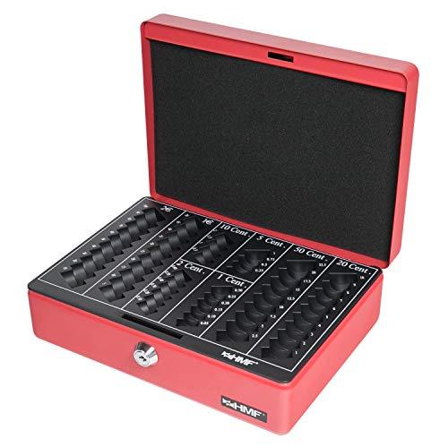 HMF 208-03 Geldkassette Euro-Münzbrett 25 x 18 x 9 cm, rot