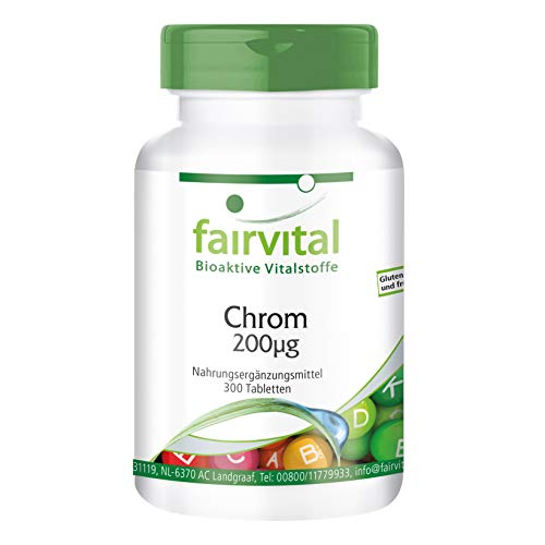 Chrom Tabletten 200mcg - HOCHDOSIERT - VEGAN - 300 Tabletten - Chrompicolinat