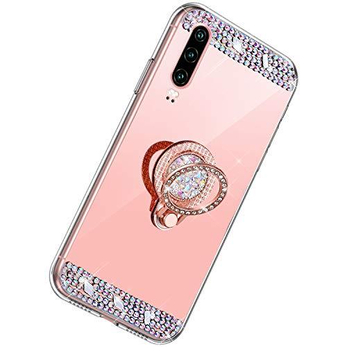 Herbests Kompatibel mit Huawei P30 Hülle Glitzer Diamant Bling Strass Glänzend Kristall Handyhülle Spiegel Hülle Mirror TPU Silikon Case Handytasche mit Ring Ständer Halter,Rose Gold