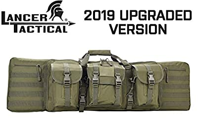 "Lancer Tactical Rifle Case 600D Polyester Double Long Rifle Bag Tactical Gun Case Accessory Pouches Secondary Gun Compartment Lockable for Hunting Shooting (Olive DRAB Green, 36"" INCH)"