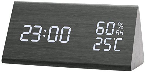 Greenvida SWEET-618 Wooden Alarm Clock,Digital Clock With 3 Levels Adjustable Brightness 3 Groups of Alarm Time,Triangle USB/4AAA Battery Powered Sound-Controlled, Displays Time Date Temperature and H