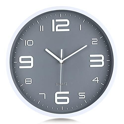 Lafocuse Reloj de Pared Gris Polvo Números 3D Grandes Reloj de Cuarzo Silenciosos Modernos sin Ruido Decorativo para Cocina Dormitorio Salon 30 cm