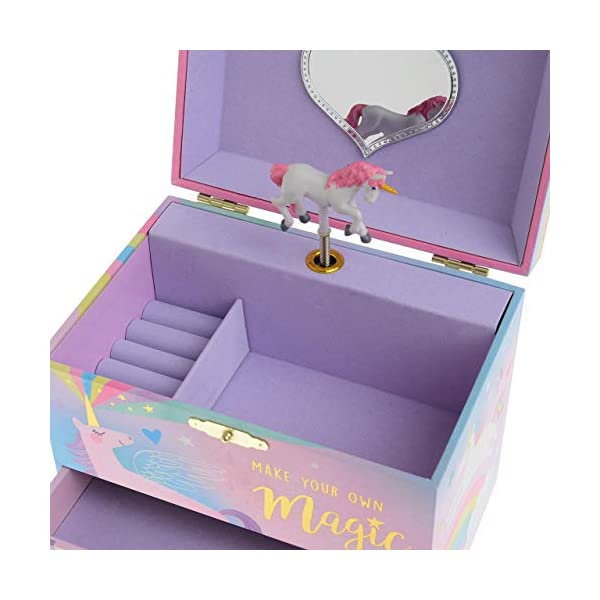 Jewelkeeper Musical Jewelry Box with 2 Pullout Drawers, Glitter Rainbow and Stars Unicorn Design, Over The Rainbow Tune 4