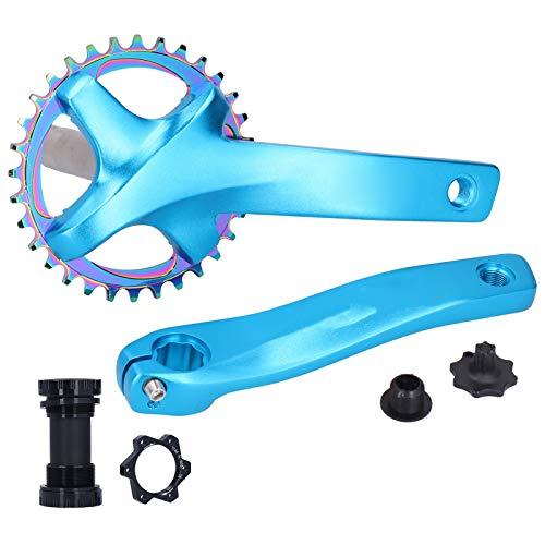 Kurbelgarnitur mit Tretlager Hohe Robustheit, exquisite Verarbeitung 32T Single Speed Kurbelarm Zubehör für Mountainbikes zum Radfahren(blue)