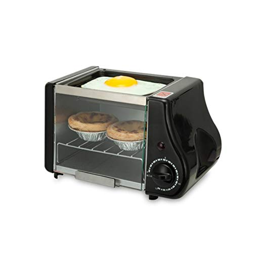 ASDFGH Mini Toaster Oven - 1.5L Small Portable Electric Grill - Adjustable Temperature Control, Timer - Accessories Included - 300W - Multi Cooking Function Grill and Bake air Fryer (Color : Black)