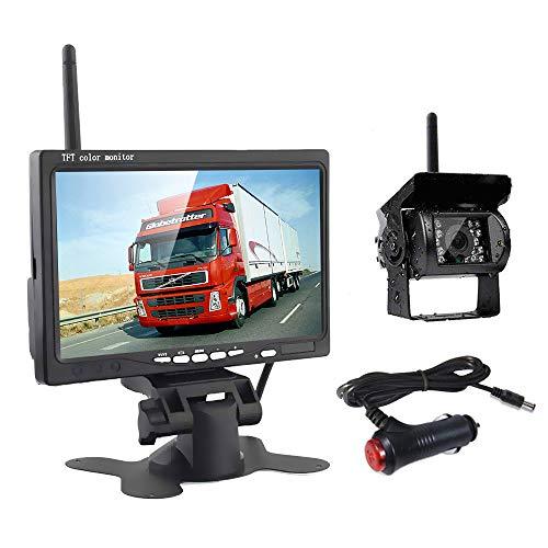 Podofo Caméra de Recul sans Fil + Kit Moniteur LCD 7' TFT 12V - 24V Kit de système de Parking pour Caméra de Vision Nocturne...