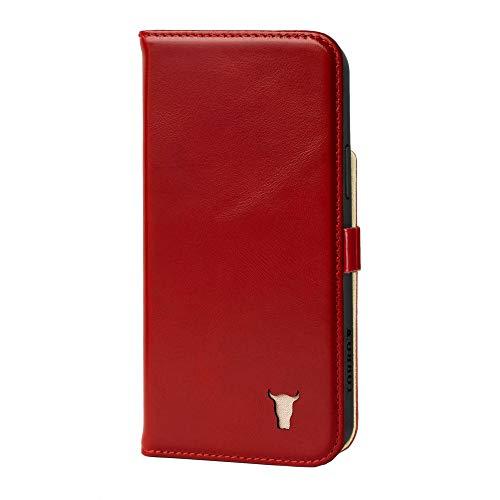 TORRO Custodia Compatibile con Apple iPhone 12 – Caso in Vera Pelle di Qualità con [Slot per Schede] [Supporto Orizzontale] [Cornice Durabile] (Rosso)