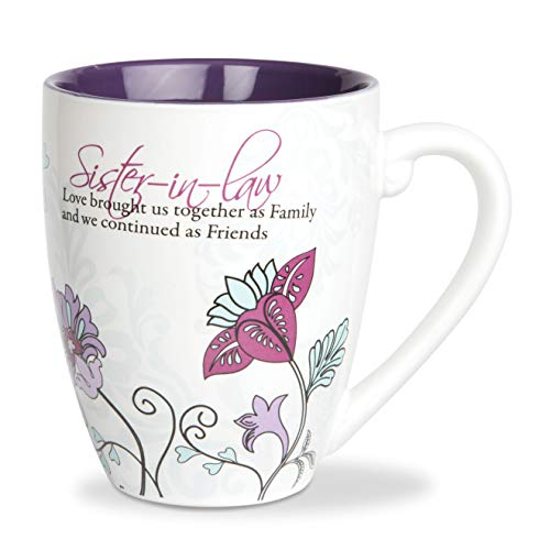 Pavilion Gift Company Mark My Words Sister In Law Floral Butterfly Coffee Tea Mug, Large, Purple