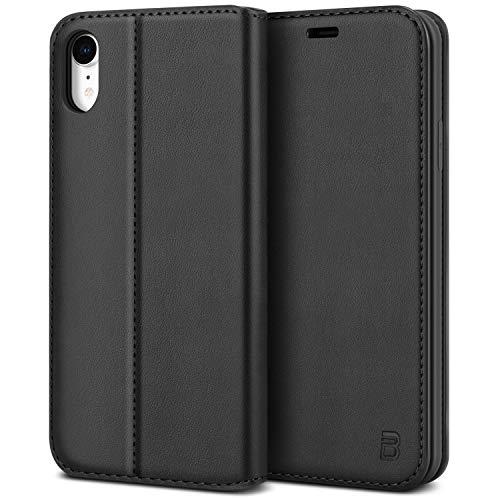 BEZ Handyhülle für iPhone XR Hülle, Premium Tasche Kompatibel für iPhone XR, Schutzhüllen aus Klappetui mit Kreditkartenhaltern, Ständer, Magnetverschluss, Schwarz