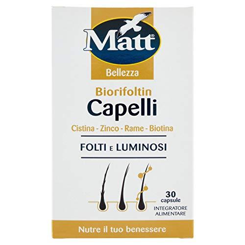 Matt - Integratore Capelli Biorifoltin - Capelli folti e Luminonsi - Con Cistina, Zinco, Rame e Biotina - 30 Capsule (16,5 g)