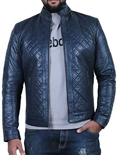 Laverapelle Men's Genuine Lambskin Leather Jacket (Navy Blue, Extra Large, Polyester Lining) - 1501491