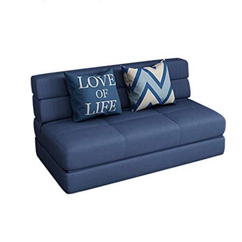 NO BRAND Sofá Cama Plegable, Doble Tela Multi-Funcional sofá Perezosa, Conveniente for el Sitio Tatami de Estar Apartamento Pequeño 103-S (Color : Dark Blue, Size : 100cm)