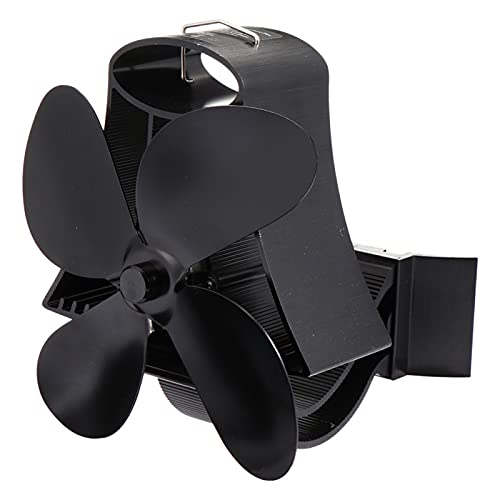 QXJTX Soplador de Chimenea 1pc Thermal Power Fan Fireplace Ventilador Estufa de Calor de Ventilador con 4 Cuchillas Fuelles de Chimenea (Color : Black)
