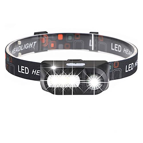 Linterna Frontal XPE + COB USB Carga LED Faro portátil LED Faro Luz Super Bright Head Light Outdoor Piedra Impermeable Torch por 18650 Batería (Emitting Color : B Pack Have Battery)
