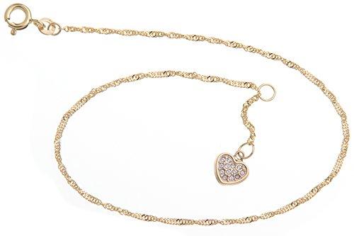 Silberketten-Store Cavigliera Singapore con ciondolo a forma di cuore–1,4mm larghezza–Lunghezza a scelta 23–30cm–Vero oro 333 e oro, cod. 12